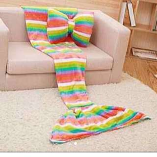 Mermaid Butterfly Bow Pillow With  Tail Blanket  Set