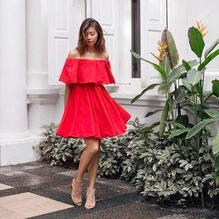 Fashmob Off Shoulder Dress (Red)