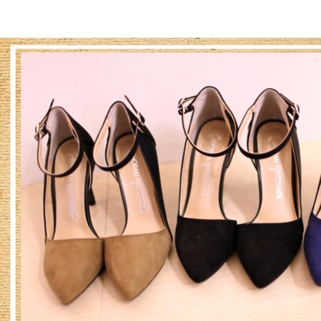 正韓時尚麂皮撞色拼接尖高跟鞋-37(無綁帶款)