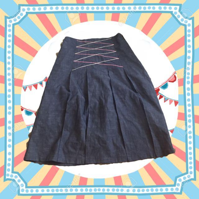 復古古著❤️百摺線條牛仔裙