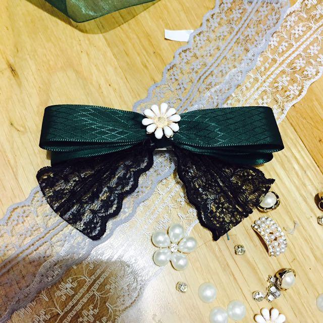 手工蝴蝶結髮夾 綠色蕾絲
