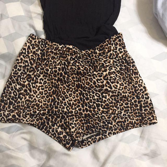 豹紋 短褲 西裝面料挺版