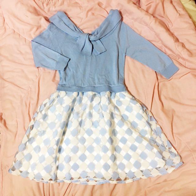 水藍 針織 可愛 洋裝