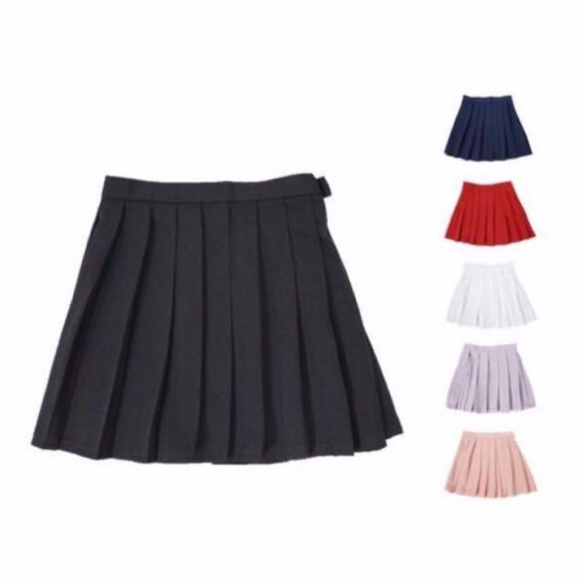 降✨純色百褶裙 黑 m號