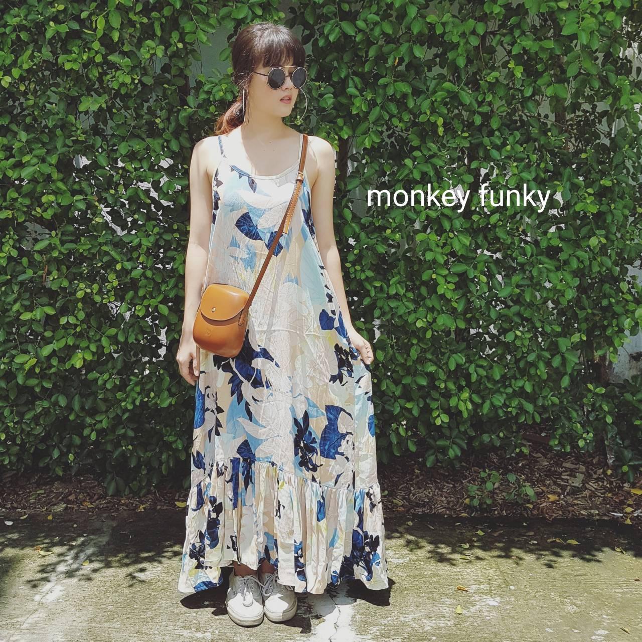8/31前蝦皮免運 [現貨] 泰國設計師品牌 Monkey Funky 舒適度假長洋裝 (加臉書社團再折50)
