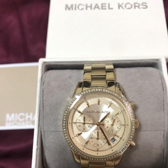 全新 MK6356 晶鑽三眼計時手錶
