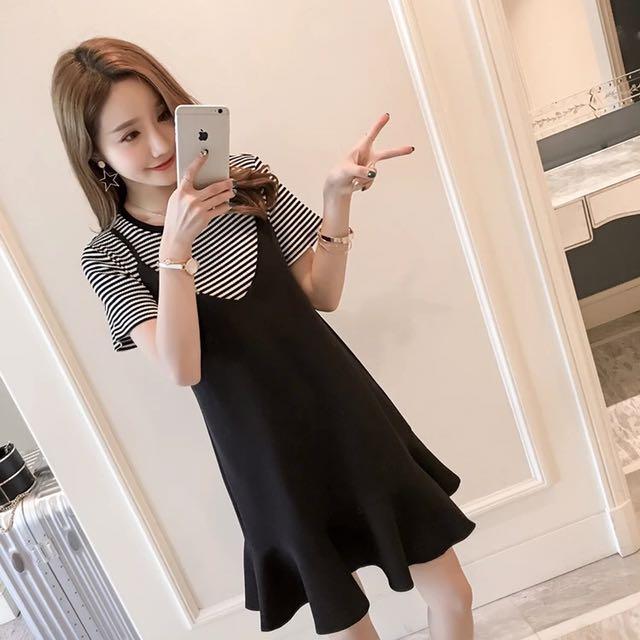 甜美套裝✨條紋上衣+荷葉邊吊帶裙 S~XL 小中大尺碼