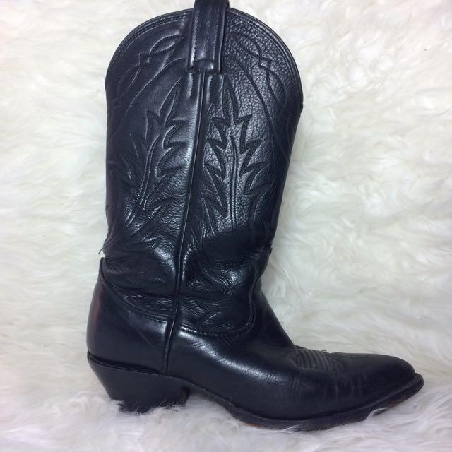 Authentic Cowboy Boots, Black Leather, Size 7.5