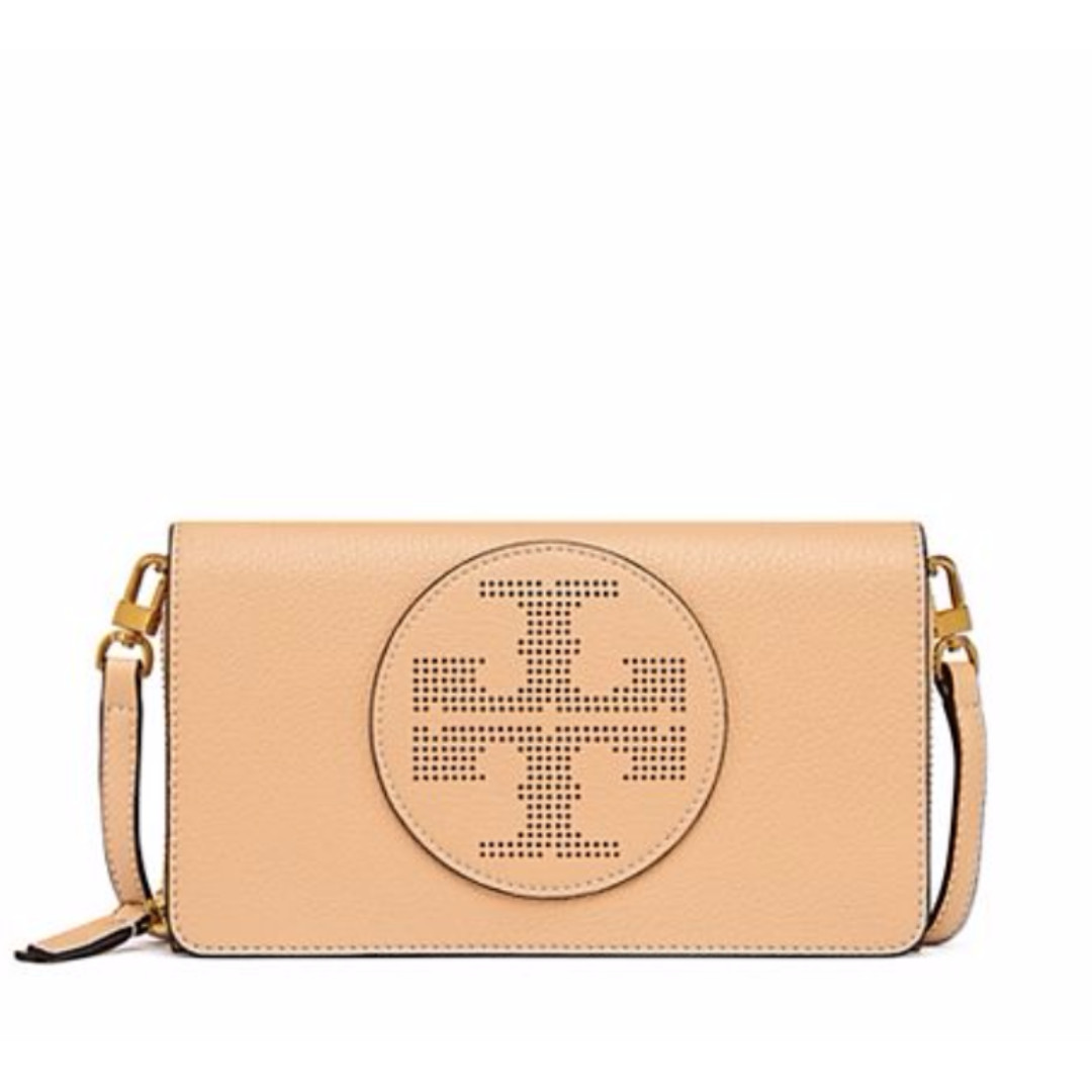 9c8dab6a7941 Authentic Tory Burch Perforated Logo Flat Wallet Crossbody Leather ...