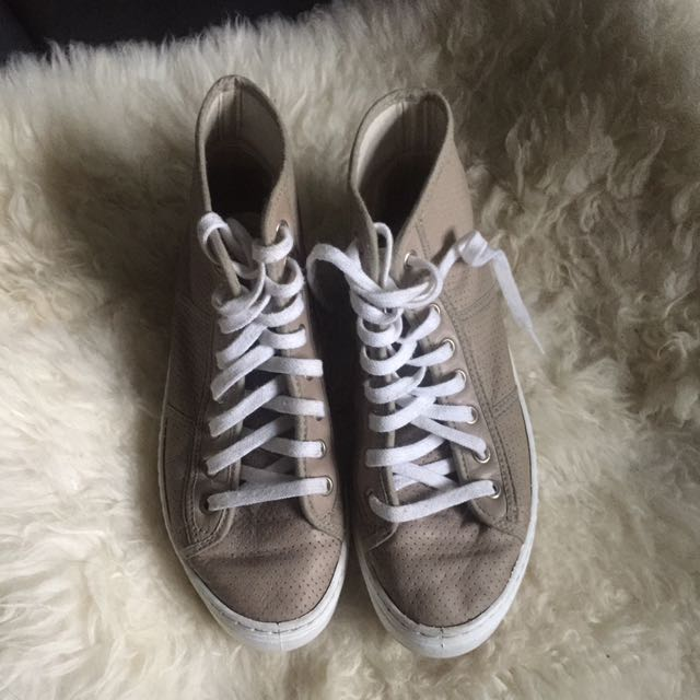 Beige Nude Sneakers Lace up