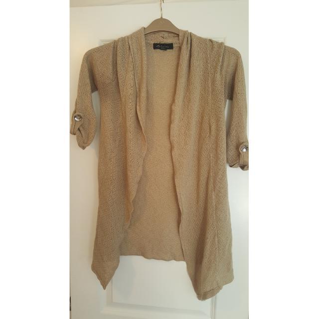 Beige Quarter Sleeve Cardigan