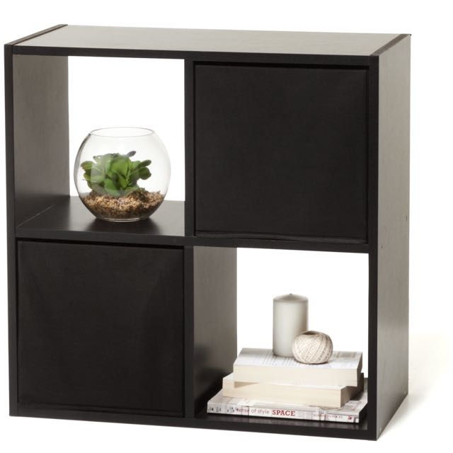 Black 4 Cube Unit Shelf