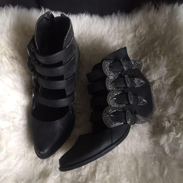 Black Buckled Heel Boots