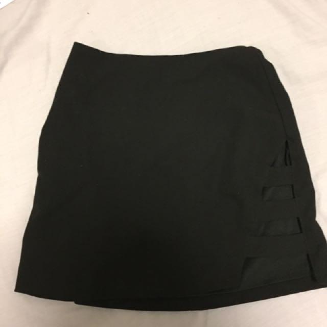 Black Cut Out Bodycon Mini Skirt Size 6