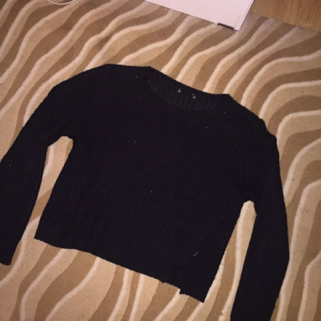 Black Knit Sweater Medium M Cropped