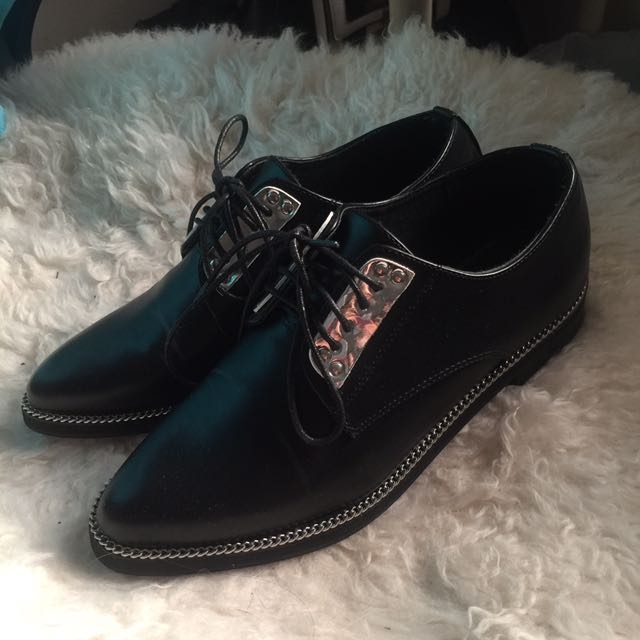 Black Oxford Lace up brogue shoes Flat