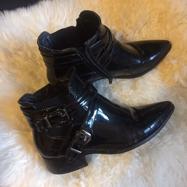 Black Patent Leather Buckle Heeled Boots Zip Up