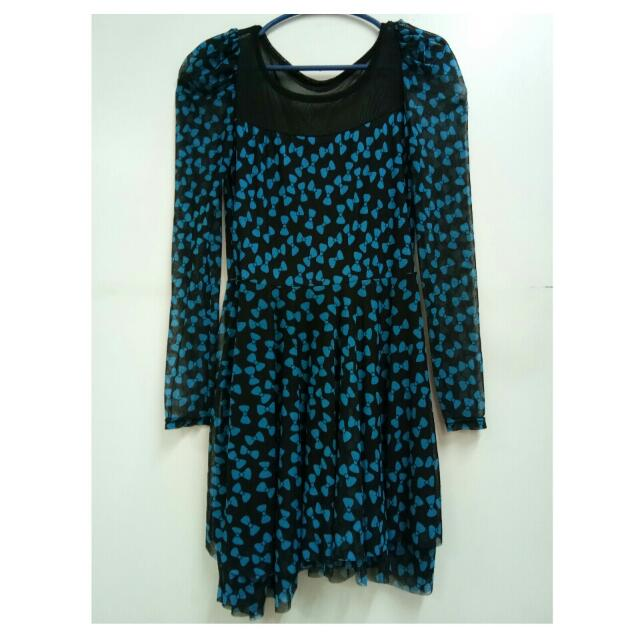 Black with Blue Ribbons Dress