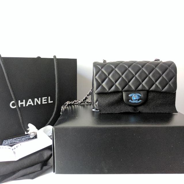3a2d52b2b BNIB Full Set Authentic Chanel Mini Rectangle Classic Flap Bag In Black  Lambskin And Silver Hardware, Luxury, Bags & Wallets on Carousell