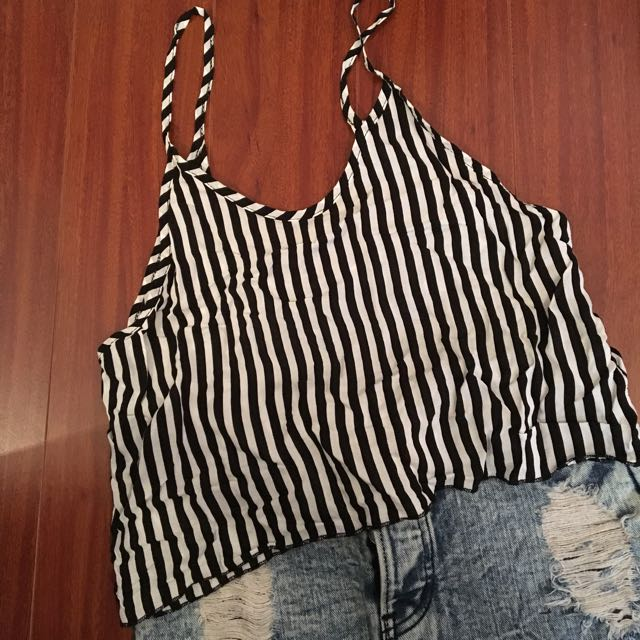 Brandy Melville Black & White Striped Tank