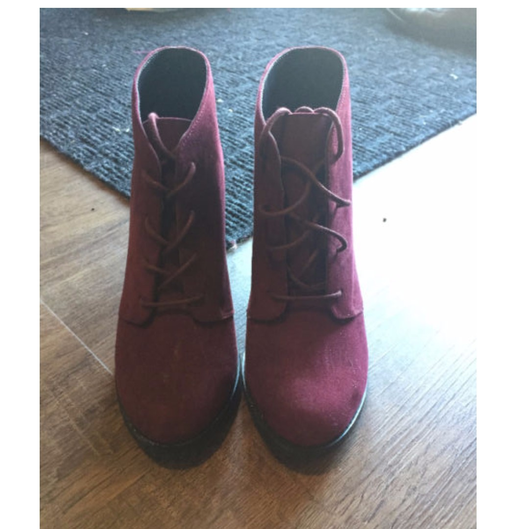 Burgundy Ankle Boot- Size 7 (USED ONCE