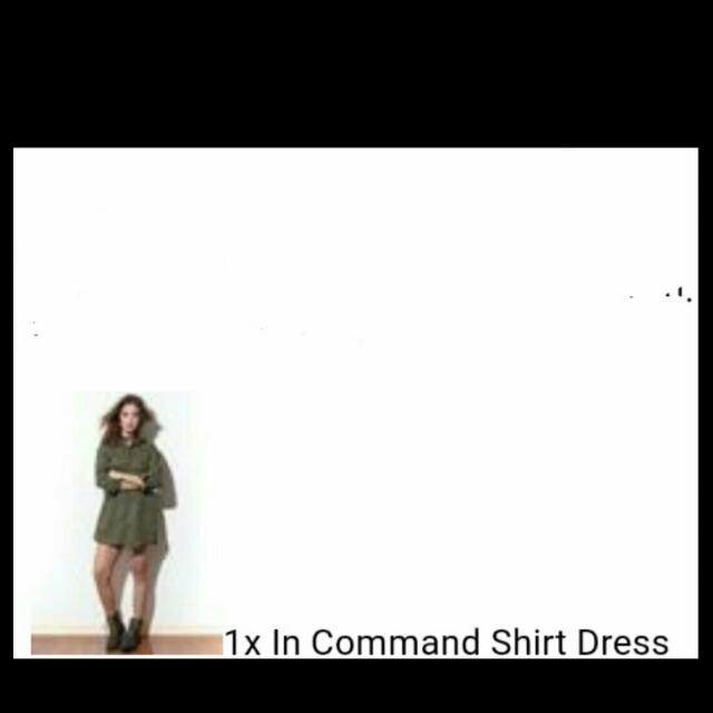 Copper (shopcopper) Army Green Shirt Dress