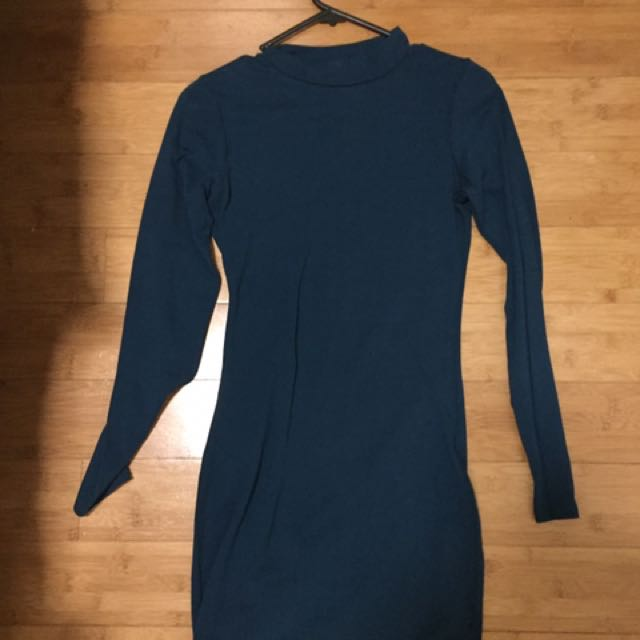 Cotton On High Neck Teal Bodycon Dress XS