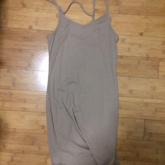 Cotton On Ribbed Tan Mini Dress S