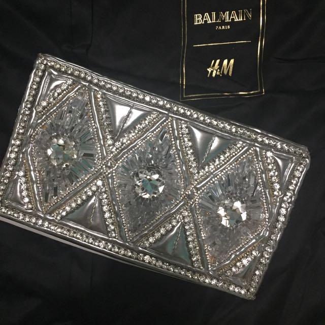 Designer Silver Clutch Balmain For H&M