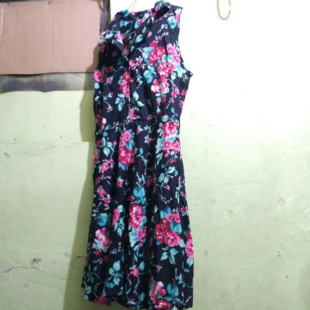 Dress Flower Pink Hitam