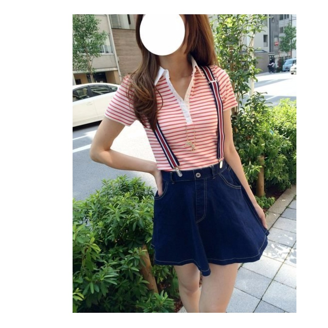 EMS休閒風顯瘦合身版型紅白條紋POLO衫