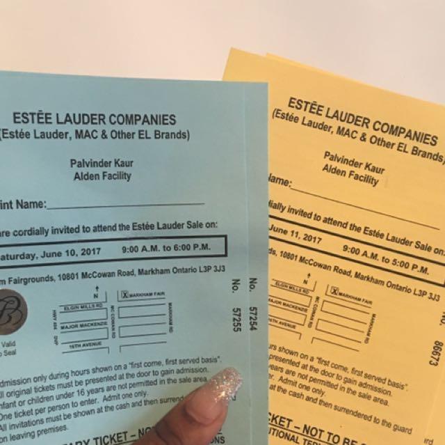 Estée Lauder Tickets (Sat June 10th and Sun June 11th)