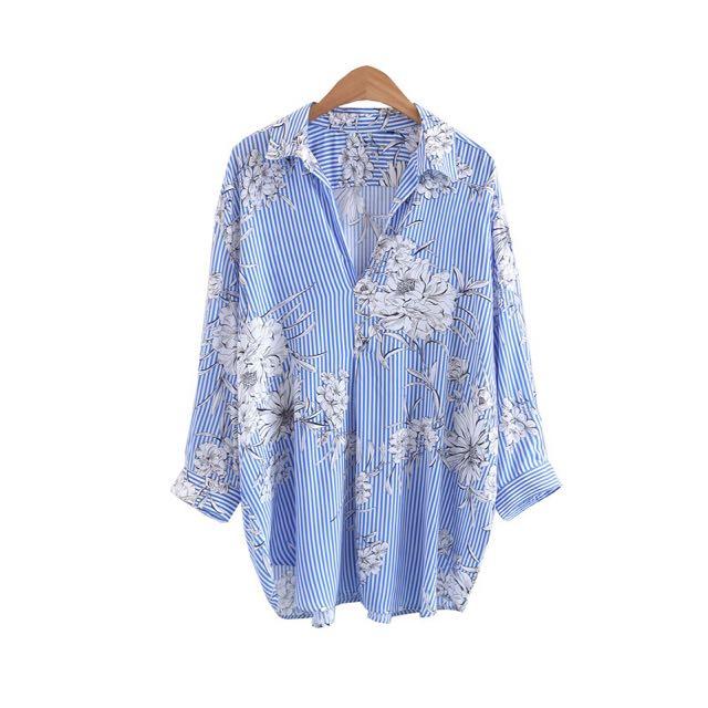 a47eb8da 🔥European Zara Inspired V Neck Blue Stripes Flowers Shirts Top, Women's  Fashion, Clothes, Tops on Carousell