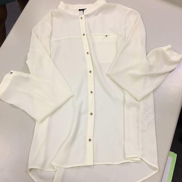 Forever21-long Sleeve White Polo