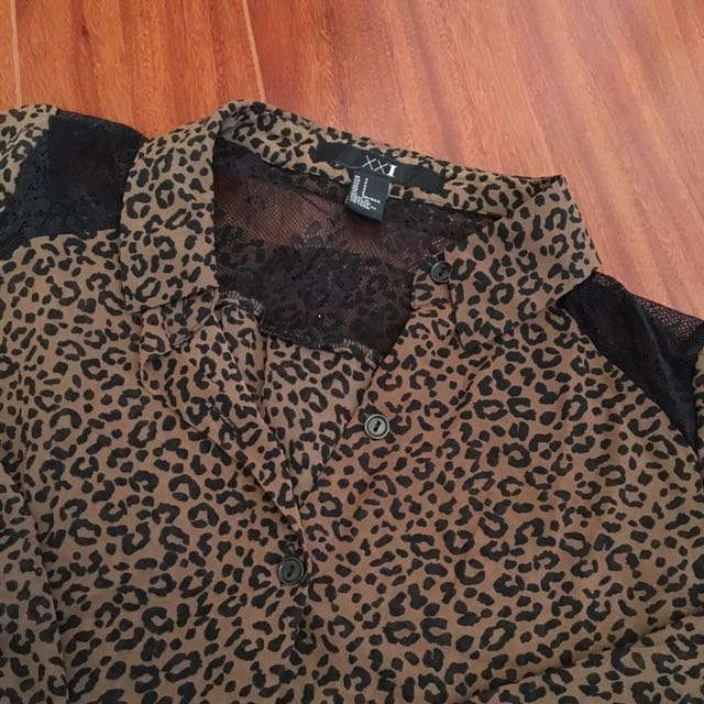 Forever 21 Button-Up Leopard Print Blouse