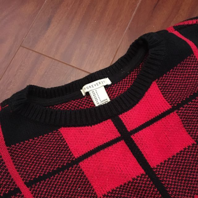 Forever 21 Plaid Knit Sweater