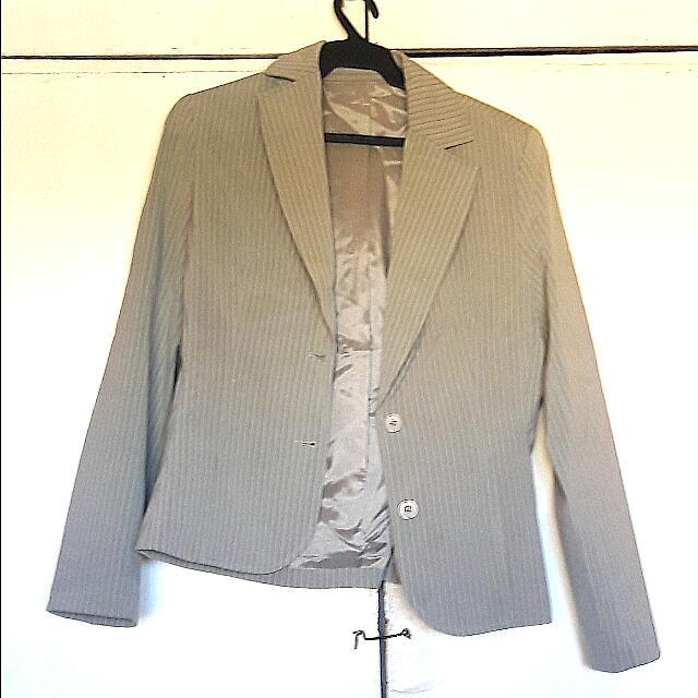 Grey Pinstriped Blazer