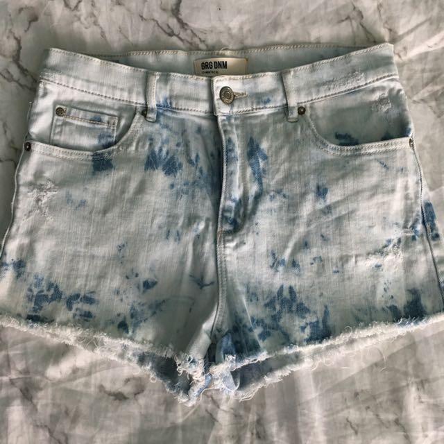 High Waisted Acid Wash Denim Shorts