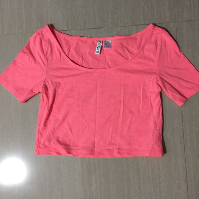 H&M neon pink crop Top