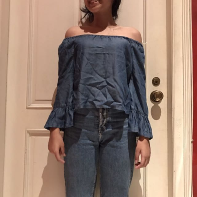 H&M sabrina top (blue)