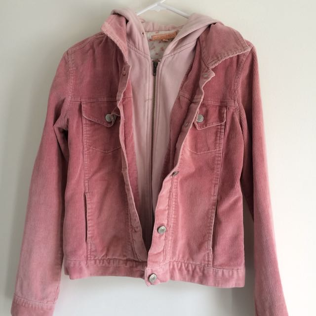 Hooded Cord Jacket Pink