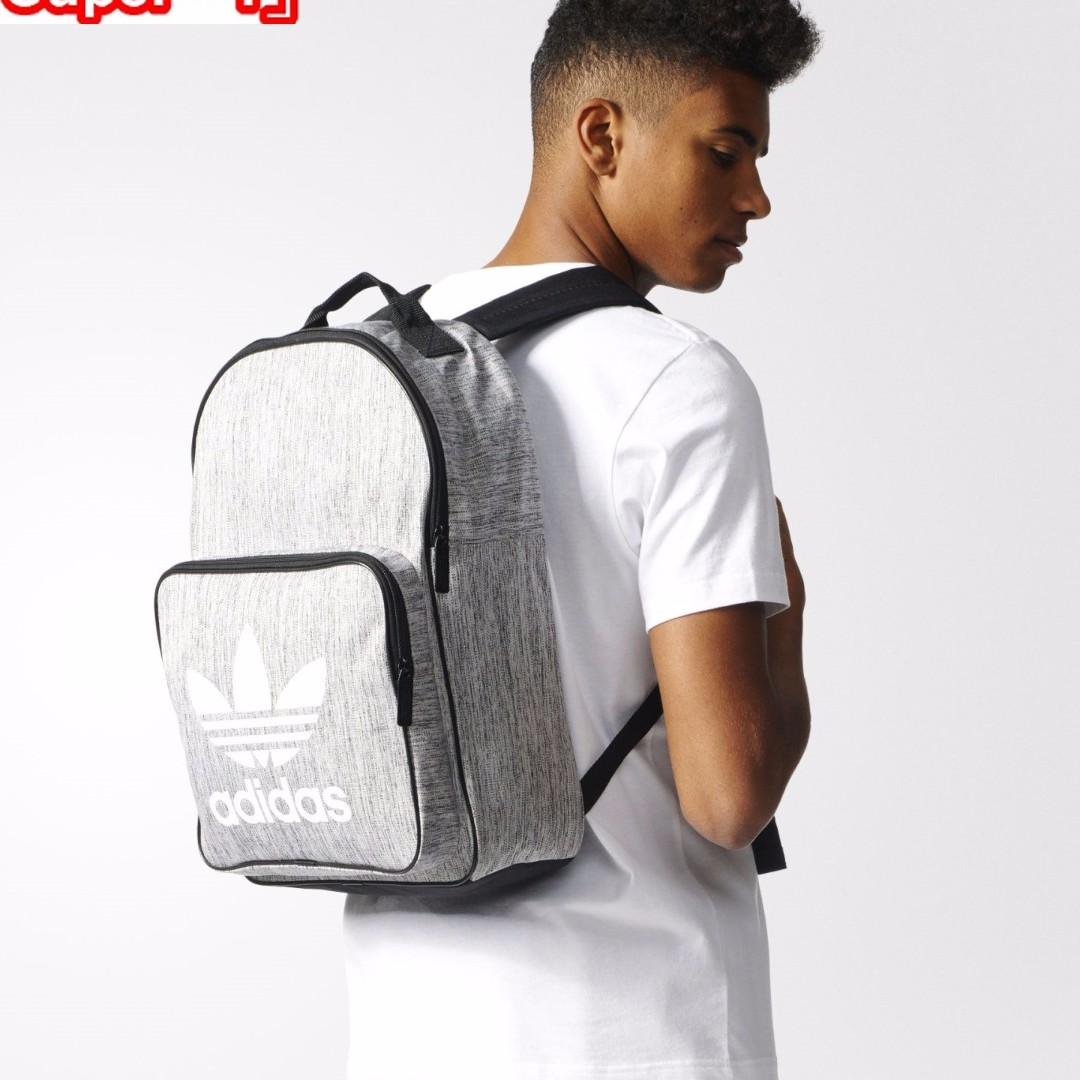 「i」【預購】愛迪達 Adidas Originals Casual灰黑白 三葉草 大logo 中性 後背包BK7119