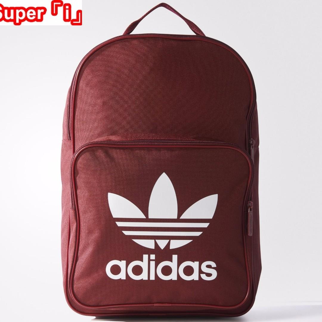 「i」【預購】愛迪達Adidas Originals Classic酒紅 三葉草 大logo 中性 後背包BP7303