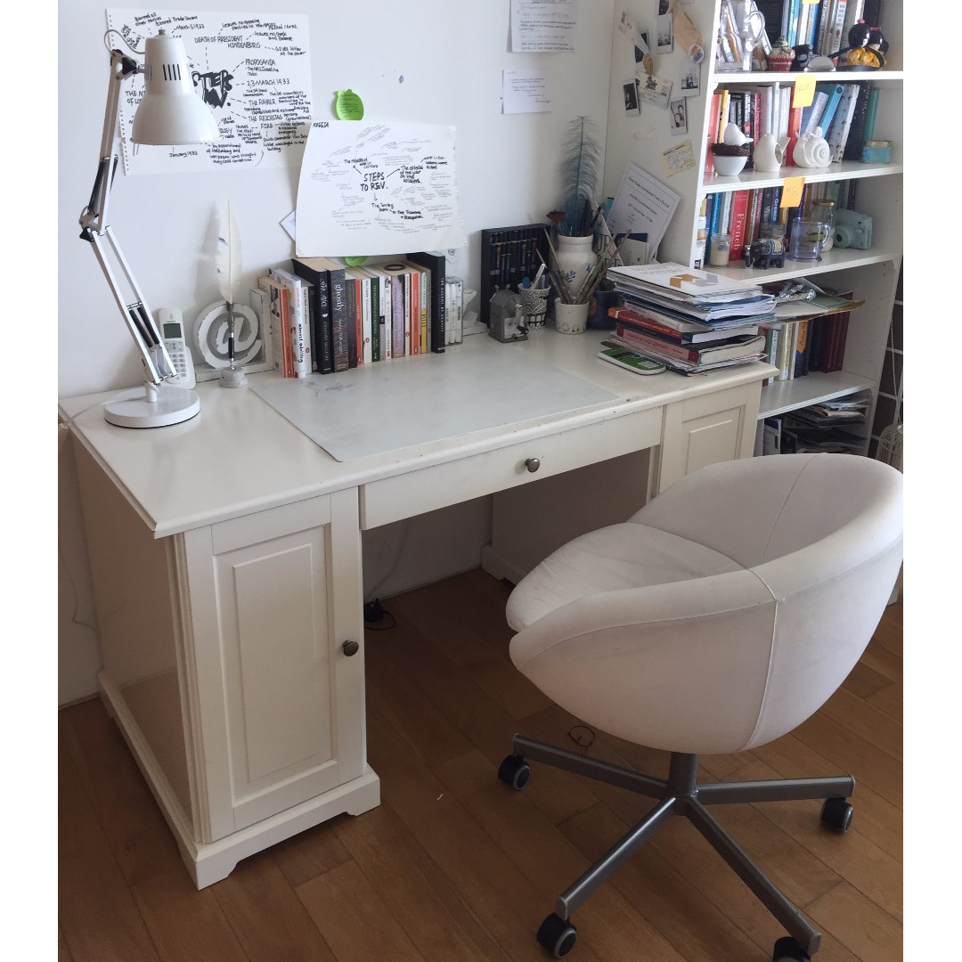 Genial IKEA Liartop Study Desk White With Skruvsta Swivel Chair White, Furniture,  Tables U0026 Chairs On Carousell