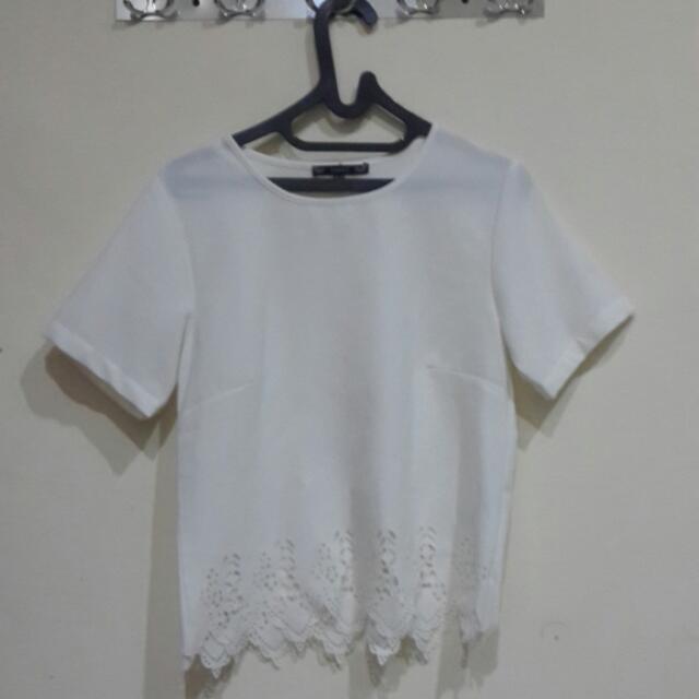 Laser Cut White Shirt