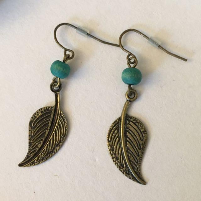 Leaf and Wood Earrings