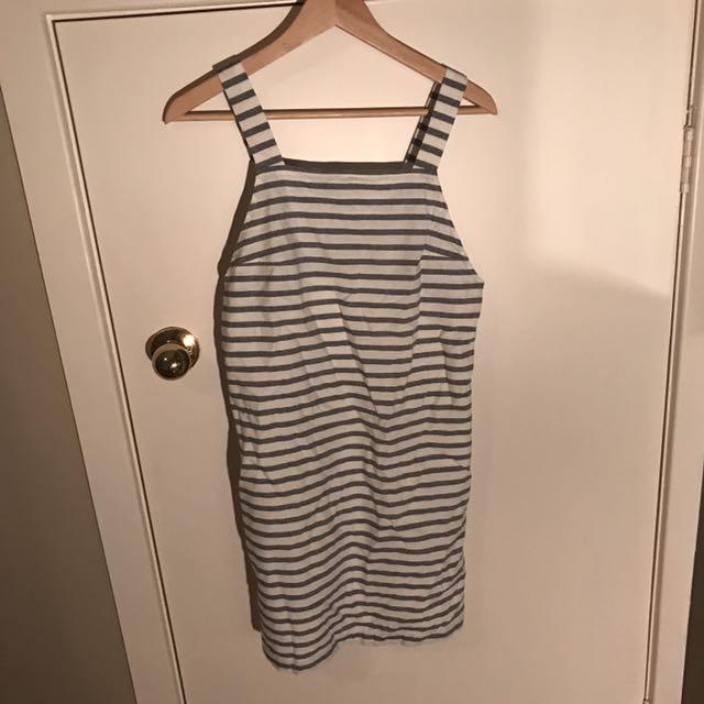 LULU AND ROSE Striped Pinafore/ Dungaree Dress