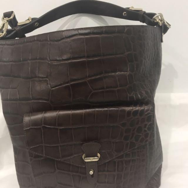 Massimo Dutti Dark Brown Leather Tote