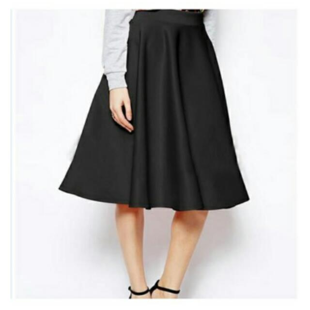 Midi Flare Skirt Bahan Wedges Spandek Tebal