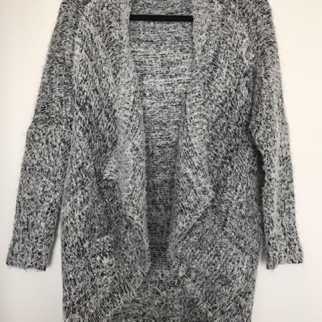 Navy/Grey Furry Cotton Cardigan